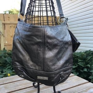 Franco Sarto Dark Gray Metallic Messenger Bag